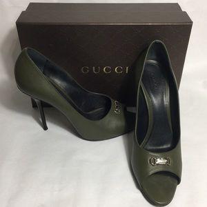 Authentic Gucci open toe pumps